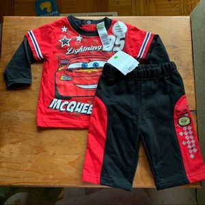 Disney Lightning McQueen 2 Piece Set Pants Top NWT